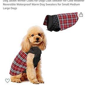 Maroon Plaid Reversible Dog Jacket - size small